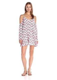 Lucca Couture Women's Printed Cold Shoulder Shift Dress Fuchsia Print