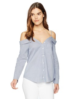 Lucca Couture Women's Reese Cold Choulder Button Up Shirt  Extra Small