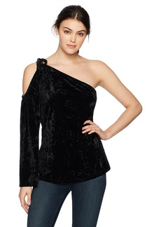 Lucca Couture Women's Sadie One Shoulder Crush Velvet Top