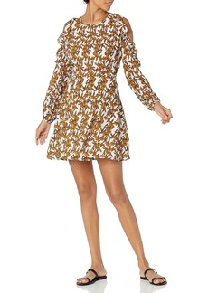 Lucca Couture Women's Shayne Print Ruffle Cold Shoulder Dress