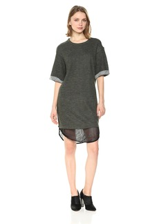 Lucca Couture Women's Short Sleeve Layered Sweatshirt Dress