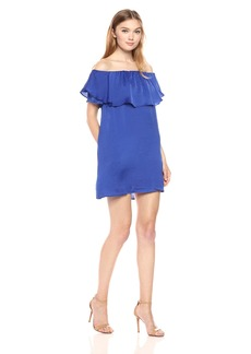 Lucca Couture Women's Strapless Double Layer Off Shoulder Rufle Mini Dress