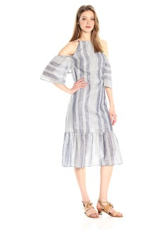 Lucca Couture Women's Stripe Cold Shoulder Maxi Dress Blue/Off White