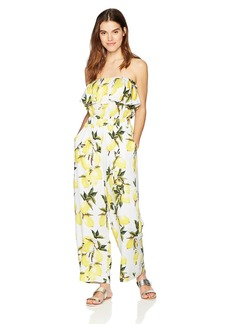Lucca Couture Women's Talia OTS Ruffle Overlay Jumpsuit