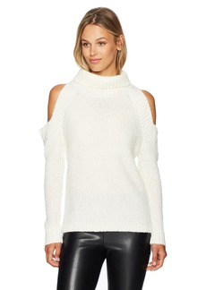 Lucca Couture Women's Tatiana Cold Shoulder Turtleneck Sweater