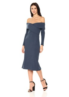 Lucca Couture Women's Valentina Off The Shoulder Rib Midi Dress