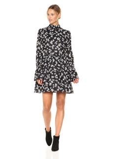 Lucca Couture Women's Zoe Floral Print Keyhole Back Dress Black/tan