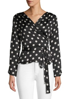 Lucca Couture Ruth Polka Dot Wrap Blouse