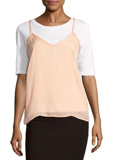 Lucca Couture Solid Satin Slip Top