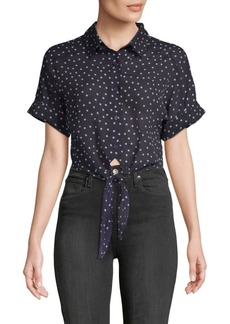 Lucca Couture Vera Polka Dot Cotton Button-Down Shirt