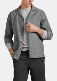 Luciano Barbera Men's Brushed Cotton-Wool Piqué Shirt Jacket