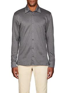 Luciano Barbera Men's Geometric-Jacquard-Knit Cotton Shirt