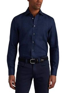 Luciano Barbera Men's Geometric Woven Linen Sport Shirt