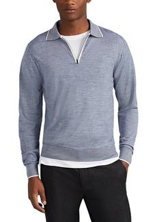 Luciano Barbera Men's Zip-Front Wool Long-Sleeve Polo Shirt