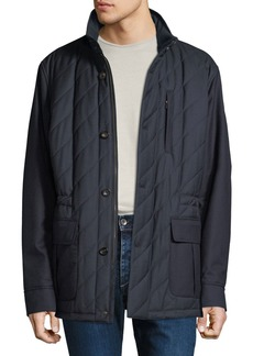 Luciano Barbera Men's Quilted Wool Field Jacket with Packaway Hood