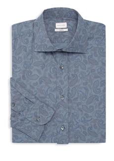 Luciano Barbera Paisley Cotton Dress Shirt