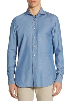 Luciano Barbera Textured Dyed Cotton Casual Button-Down Shirt