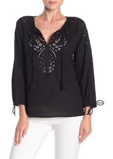 Lucky Brand 3/4 Sleeve Embroidered Eyelet Top