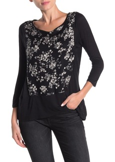 Lucky Brand 3/4 Sleeve Printd Top