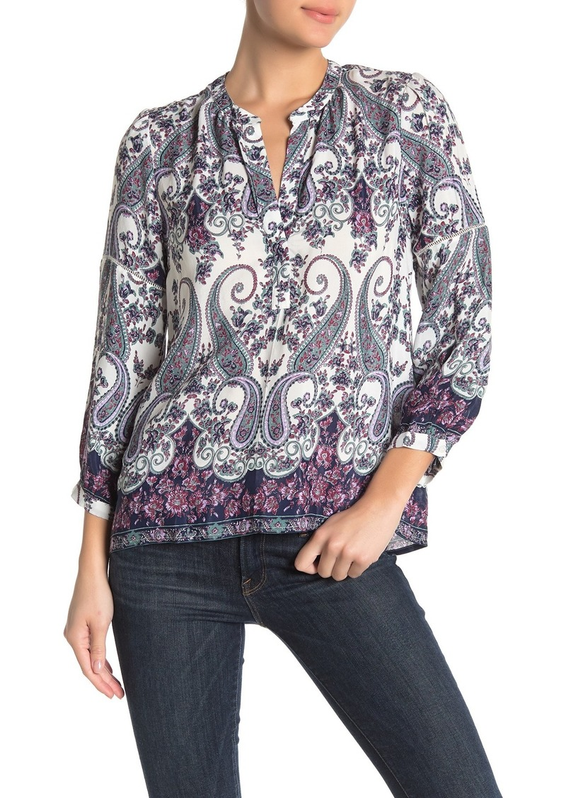 Lucky Brand 3/4 Sleeve Printed Blouse