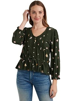 Lucky Brand 3/4 Sleeve V-Neck Button-Up Printed Tie Waist Top