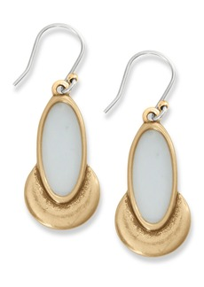 Lucky Brand Bezel Set White Agate Drop Earrings