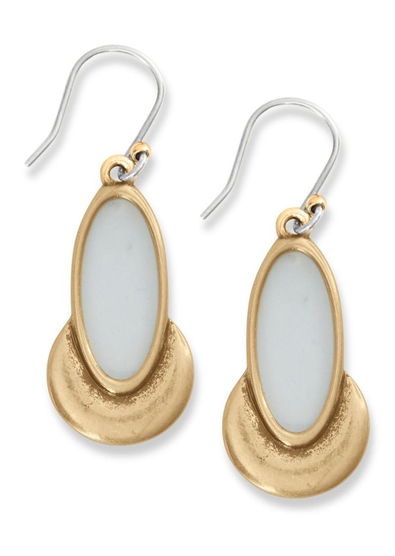 Lucky Brand Bezel Set White Agate Drop Earrings