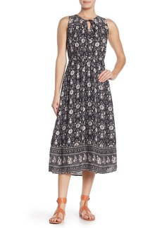 Lucky Brand Border Print Keyhole Sleeveless Midi Dress