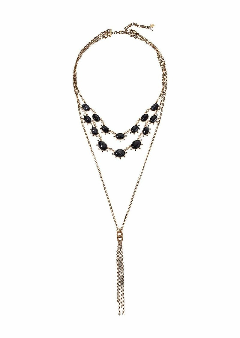 Lucky Brand Brushed Agate Tassel Necklace