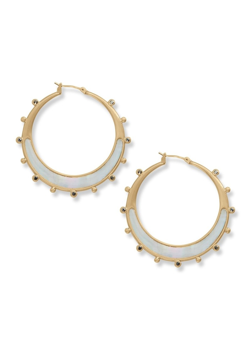 Lucky Brand Brushed Mother of Pearl Inlay 48mm Hoop Earrings