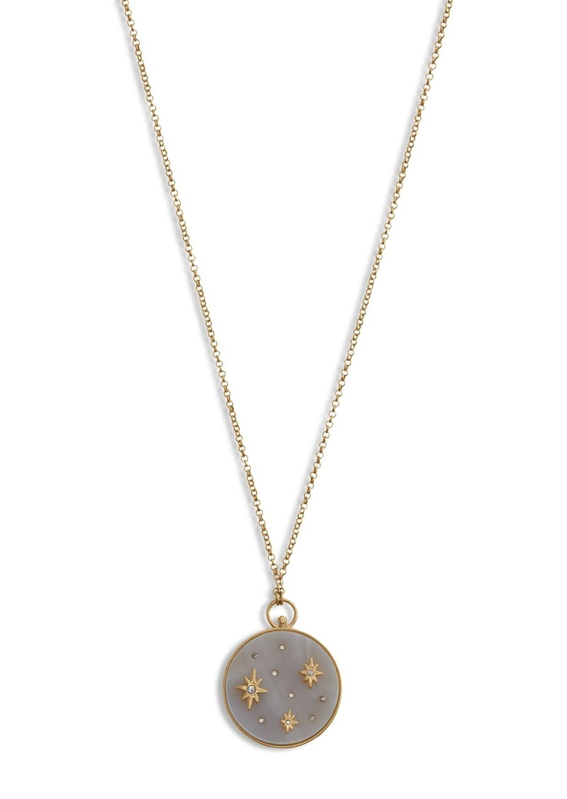Lucky Brand Brushed Star Detailed Crystal & White Agate Reversible Round Pendant Necklace