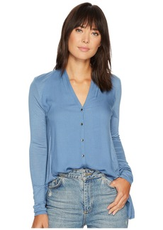 Lucky Brand Button Down Woven Mix Top