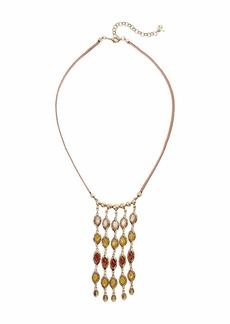 Lucky Brand Citrine Set Stone Fringe Leather Necklace