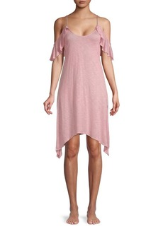 Lucky Brand Cold-Shoulder Knee-length Cover-Up Dress