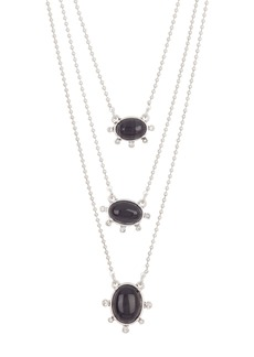 Lucky Brand Convertible Black Agate Layered Necklace