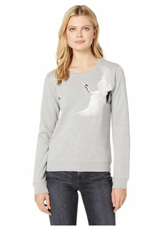 Lucky Brand Embroidered Crane Pullover Sweatshirt