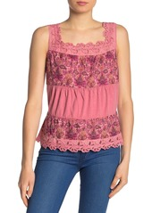 Lucky Brand Embroidered Eyelet Floral Tank Top