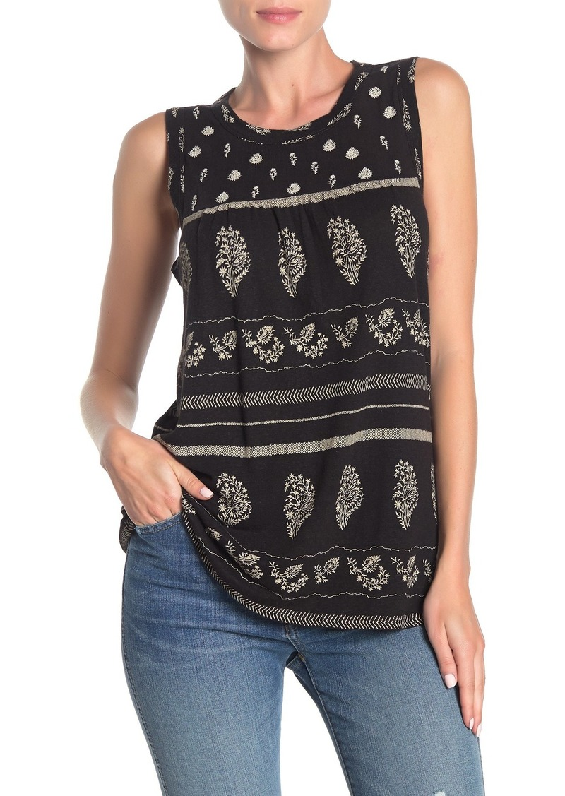 Lucky Brand Embroidered Linen Blend Sleeveless Blouse