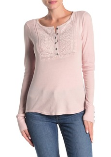 Lucky Brand Embroidered Long Sleeve Thermal Henley