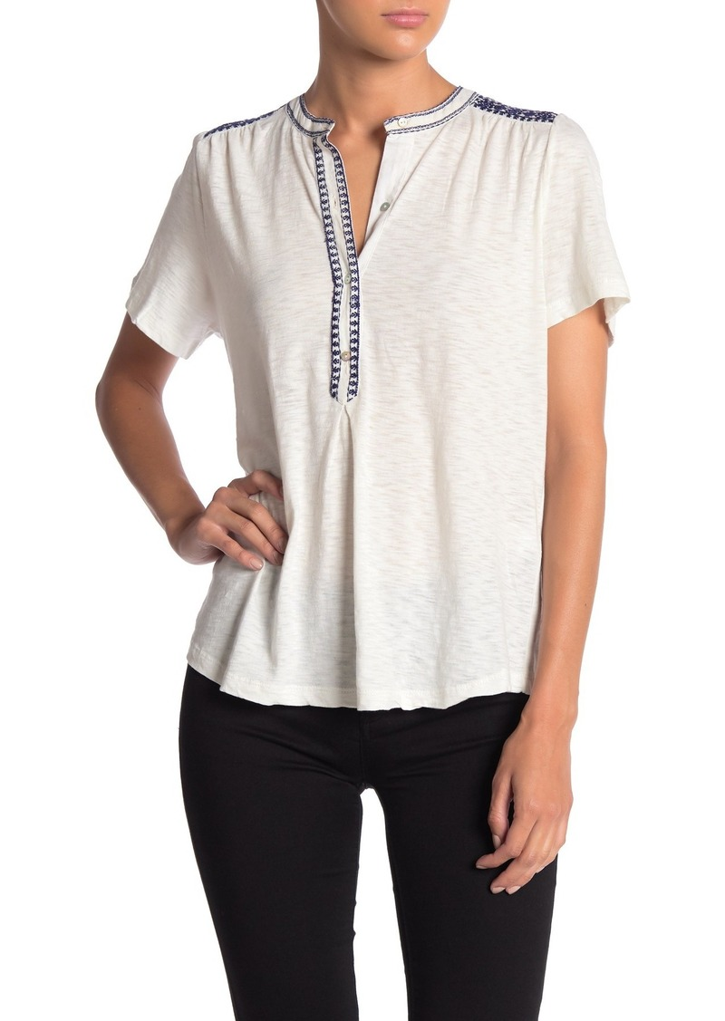 Lucky Brand Embroidered Split Neck T-Shirt