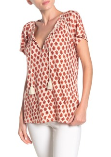 Lucky Brand Print Smocked Top