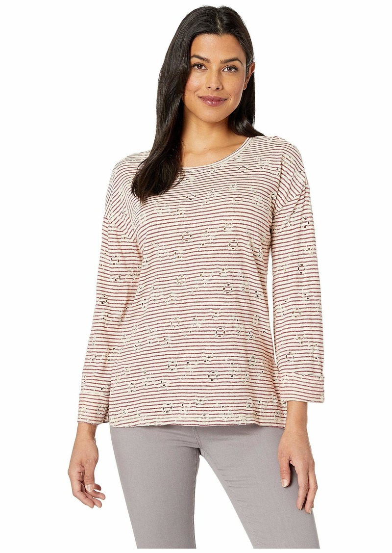 Lucky Brand Eyelet Stripe Top