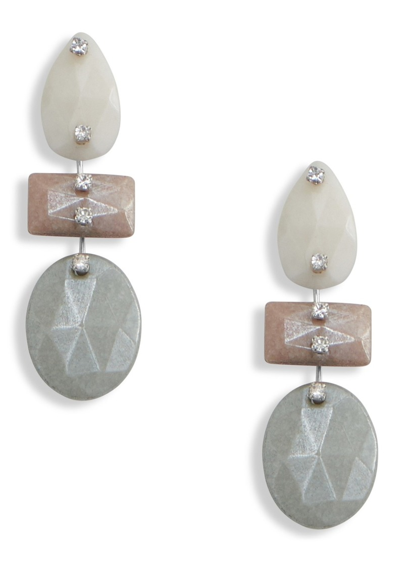 Lucky Brand Faceted Jade & Pave Crystal Drop Earrings