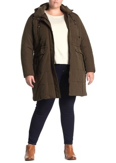 Lucky Brand Faux Fur Trim Hood Zip Front Utility Puffer Jacket (Plus Size)