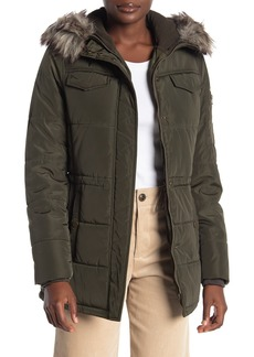 Lucky Brand Faux Fur Trim Hooded Zip Front Puffer Jacket
