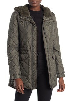 Lucky Brand Faux Shearling Lined Hood Quilted Zip Jacket
