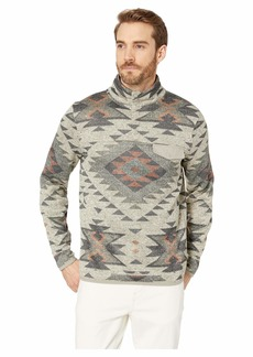 Lucky Brand Fleece Aztec Print Mock Neck Sweatshirt