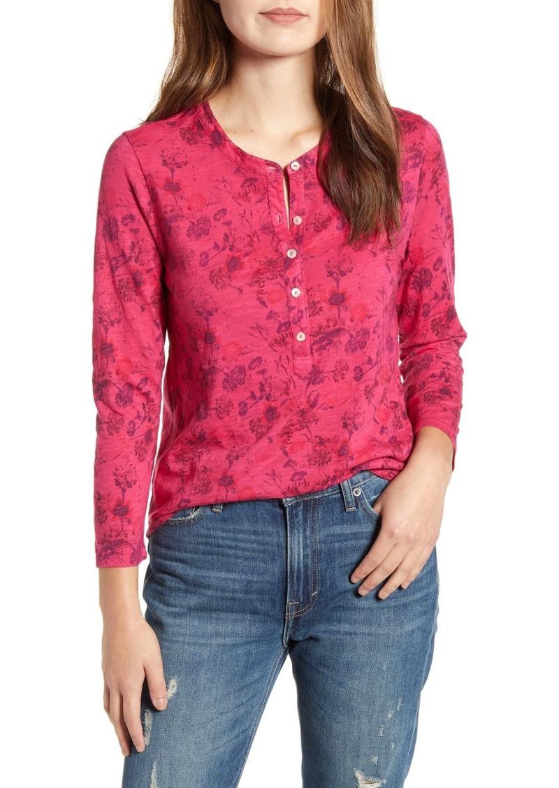 Lucky Brand Floral 3/4 Sleeve Henley T-Shirt