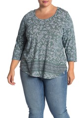 Lucky Brand Floral Delight Scoop T-Shirt (Plus Size)