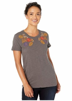 Lucky Brand Floral Embroidered Chest Tee
